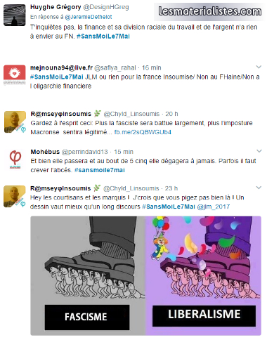 Tweet de militants de la France insoumise relativisant le Front National