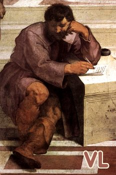 Détail de L'Ecole d'Athènes de Raphaël dépeignant Héraclite