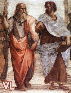Détail de L'Ecole d'Athènes de Raphaël montrant Platon et Aristote