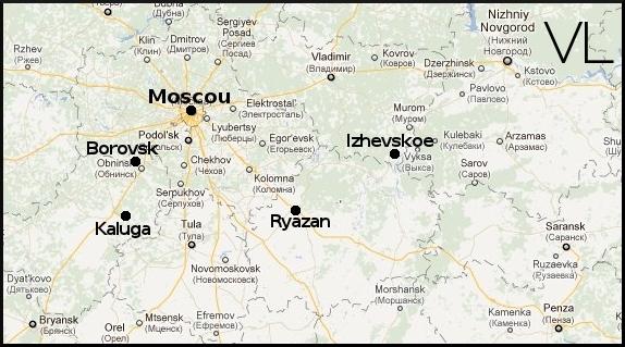 Carte des environs de Moscou montrant les principaux lieux de résidence de Tsiolkovsky.