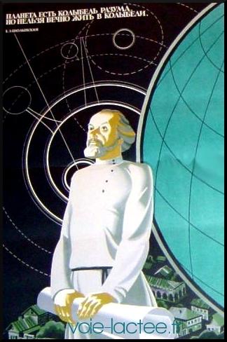 Affiche soviétique représentant Tsiolkovsky le regard perdu vers les étoiles.